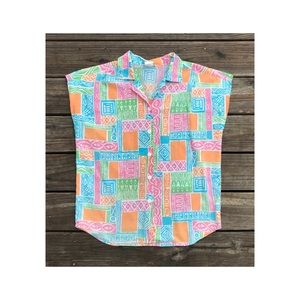 Vintage 80s button down tank top abstract sz L